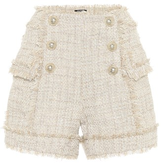 Balmain Tweed high-rise shorts