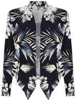 Wallis Petite Grey Palm Print Jacket