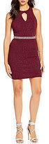 Jodi Kristopher Sleeveless Embellished-Waist Glitter Knit Sheath Dress