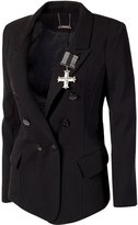 Ed Hardy Women's Long Sleeve Fitted Double Breasted Blazer