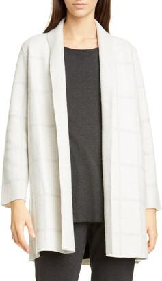Eileen Fisher Tonal Check Wool Cardigan