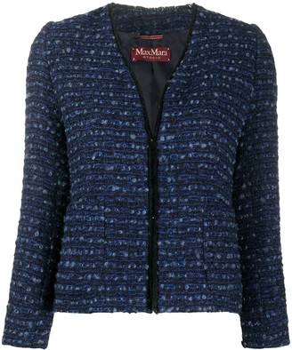 Max Mara V-neck tweed jacket