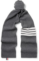 Thom Browne Striped Ribbed Wool Scarf - Dark gray