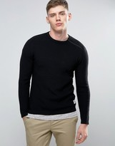 Jack & Jones Core Knitted Jumper With Shoulder Zip Detail