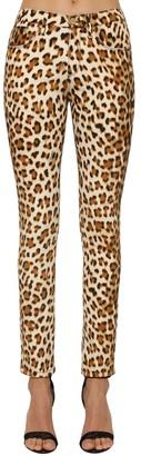 Roberto Cavalli Leopard Printed Denim Skinny Jeans