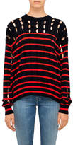 Alexander Wang Stripe Cotton Crew Neck Pull Over With Slits