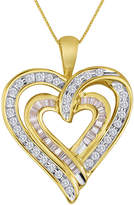JCPenney FINE JEWELRY 3/8 CT. T.W. Diamond 10K Yellow Gold Double-Heart Pendant Necklace