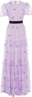 Erdem Triin Belted Floral-Print Silk-Organza Gown