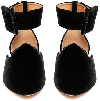 Le Monde Beryl Black Velvet Ankle Strap Slipper