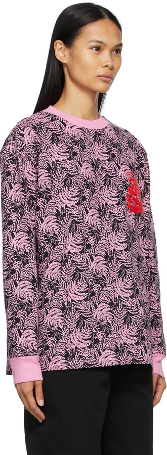 Thumbnail for your product : SSENSE WORKS SSENSE Exclusive Jeremy O. Harris Black & Pink Rose Long Sleeve T-Shirt