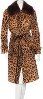 Dolce & Gabbana Fur-Trimmed Leopard Print Coat