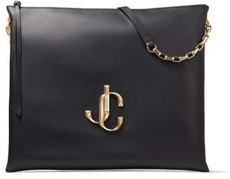 Jimmy Choo VARENNE SHOULDER/L Black Calf Leather Shoulder Bag with JC Logo