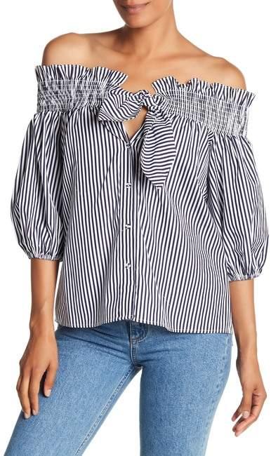Parker Off-the-Shoulder Stripe Blouse