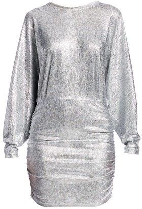 IRO Silar Metallic Long-Sleeve Mini Dress