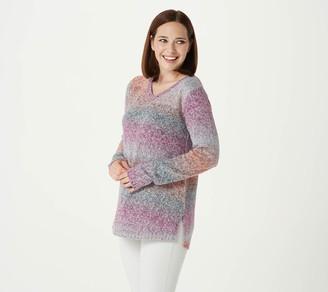 Logo by Lori Goldstein Ombre' Stripe V-Neck Sweater