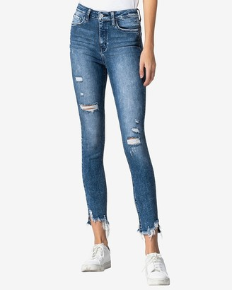 Express Flying Monkey High Waisted Distressed Cropped Skinny Jeans