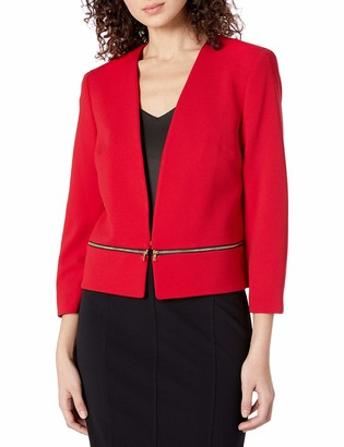 Nine West Women's V Neck Crepe Zipper Pocket Cardigan