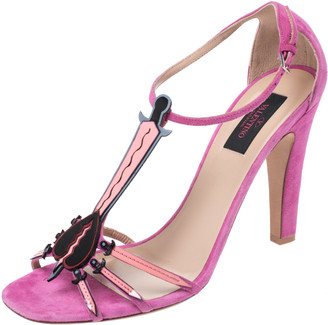 Valentino Pink Suede And Leather Love Blade T Strap Sandals Size 40.5