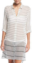 Vix Button-Front Striped Cotton Coverup Tunic