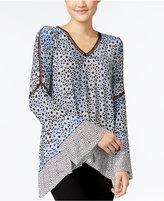 Jessica Simpson Ladria Printed Bell-Sleeve Peasant Top