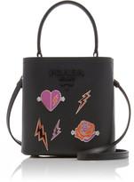 Prada Mini Embellished Textured-Leather Bucket Bag