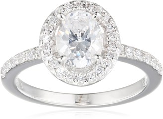 Diamonfire Bridal Women's Ring 925 Sterling Silver Rhodium-Plated with Brilliant Cut Zirconia White 61