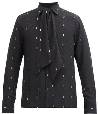 73 London - Metallic And Polka Dot Self-tie Silk-blend Shirt - Black Multi