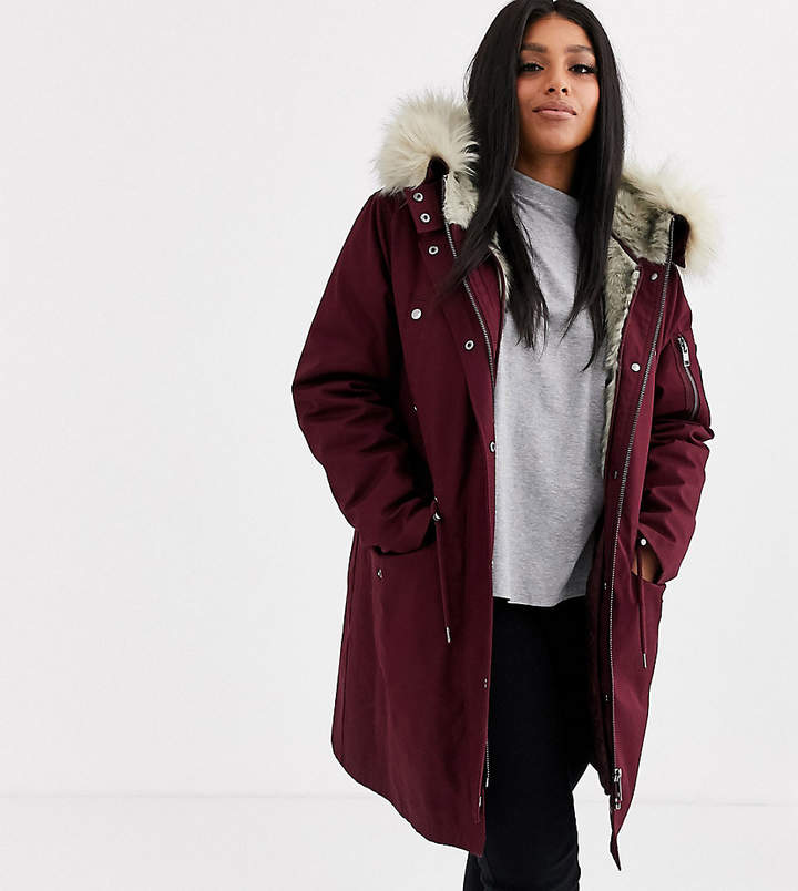 5b44dd7c04b DESIGN Curve parka with detachable faux fur liner in oxblood