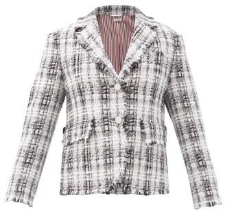 Thom Browne Shrunken Checked Chenille-tweed Suit Jacket - Grey