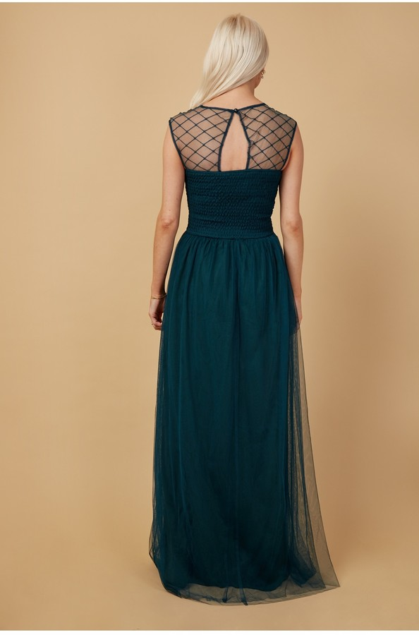 Thumbnail for your product : Little Mistress Bridesmaid Justice Green Embellished Maxi Dress