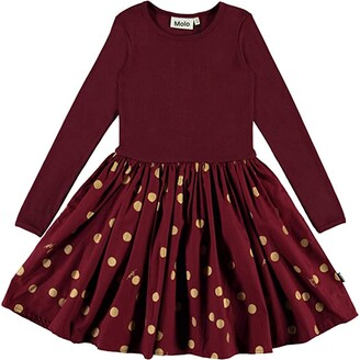 Molo Casie Dress (Little Kids/Big Kids) (Gold Dots) Girl's Clothing
