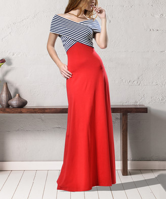 LADA LUCCI Women's Special Occasion Dresses Red, - Red & Navy Stripe Wrap-Bodice Maxi Dress - Women & Plus