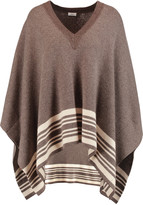 Vince Striped wool and cashmere-blend poncho