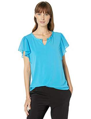 Calvin Klein Women's V-Neck TOP with Chiffon