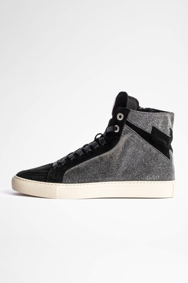 Zadig & Voltaire ZV1747 High Flash Sparkle Suede Sneakers