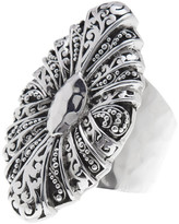 Lois Hill Sterling Silver Handcrafted Scroll Oval Shield Ring - Size 7