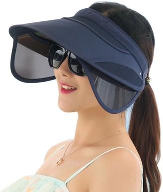 Metyou Sun Hats Unisex Summer Hat Outdoor UV Protection Wide Large Brim Cap Beach Visor Empty Top Caps Foldable (Navy)