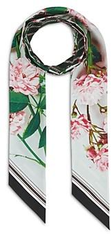 Burberry Floral & Logo Print Silk Skinny Scarf