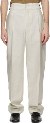 Lemaire Off-White Pleated Military Chino Trousers