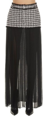 Balmain Sheer Pleated Trim Houndstooth Skirt
