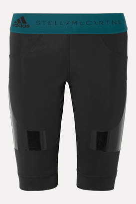 adidas by Stella McCartney + Parley For The Oceans Hybrid Vinyl-paneled Climalite Shorts - Black