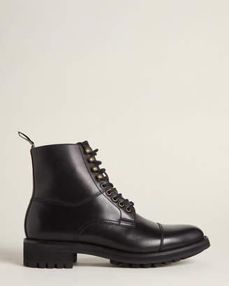 Polo Ralph Lauren Black Bryson Lace-Up Leather Boots