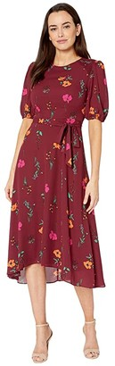 Donna Morgan Floral Printed Elbow Sleeve High-Low Georgette Dress (Bordeaux/Electric Pink Multi) Women's Dress