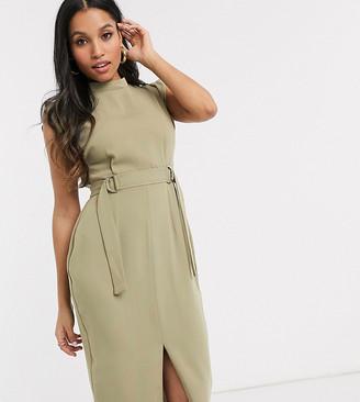 Asos DESIGN Petite cap sleeve split sleeve midi dress with d-rings-Green