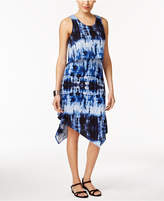 NY Collection Petite Tie-Dyed Popover Midi Dress
