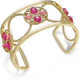INC International Concepts Gold-Tone Pink Stone Openwork Cuff Bracelet, Only at Macy's