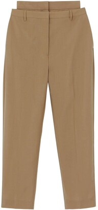 Burberry Double-waist Mohair Wool Trousers