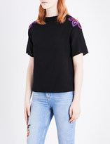 Sandro Flower-embroidered silk T-shirt