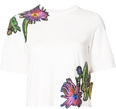 3.1 Phillip Lim Short Sleeve Cropped Tee with Floral Detail