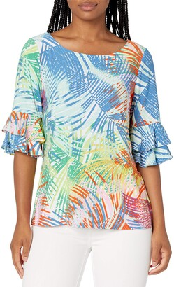 Pappagallo Women's Palm Print Angelica TOP